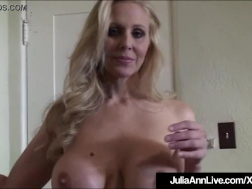 Sexy busty milf julia ann teases in hose & lingerie